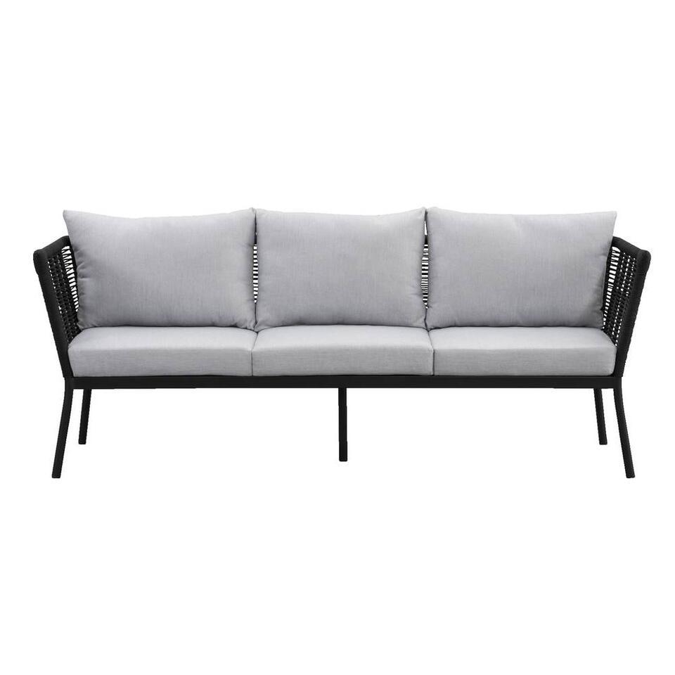 Le Sud loungezetel Viviers is een comfortabele trendy 3-zits zetel van aluminium en touw. Inclusief kussens.
