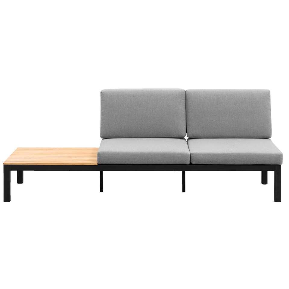 Le Sud loungezetel Valence is een luxueuze 2-zitszetel met een zijtafel. Deze zetel wordt geleverd met rug- en zitkussens. Deze zetel heeft een matzwart frame en het tafelblad heeft een teakkleur.