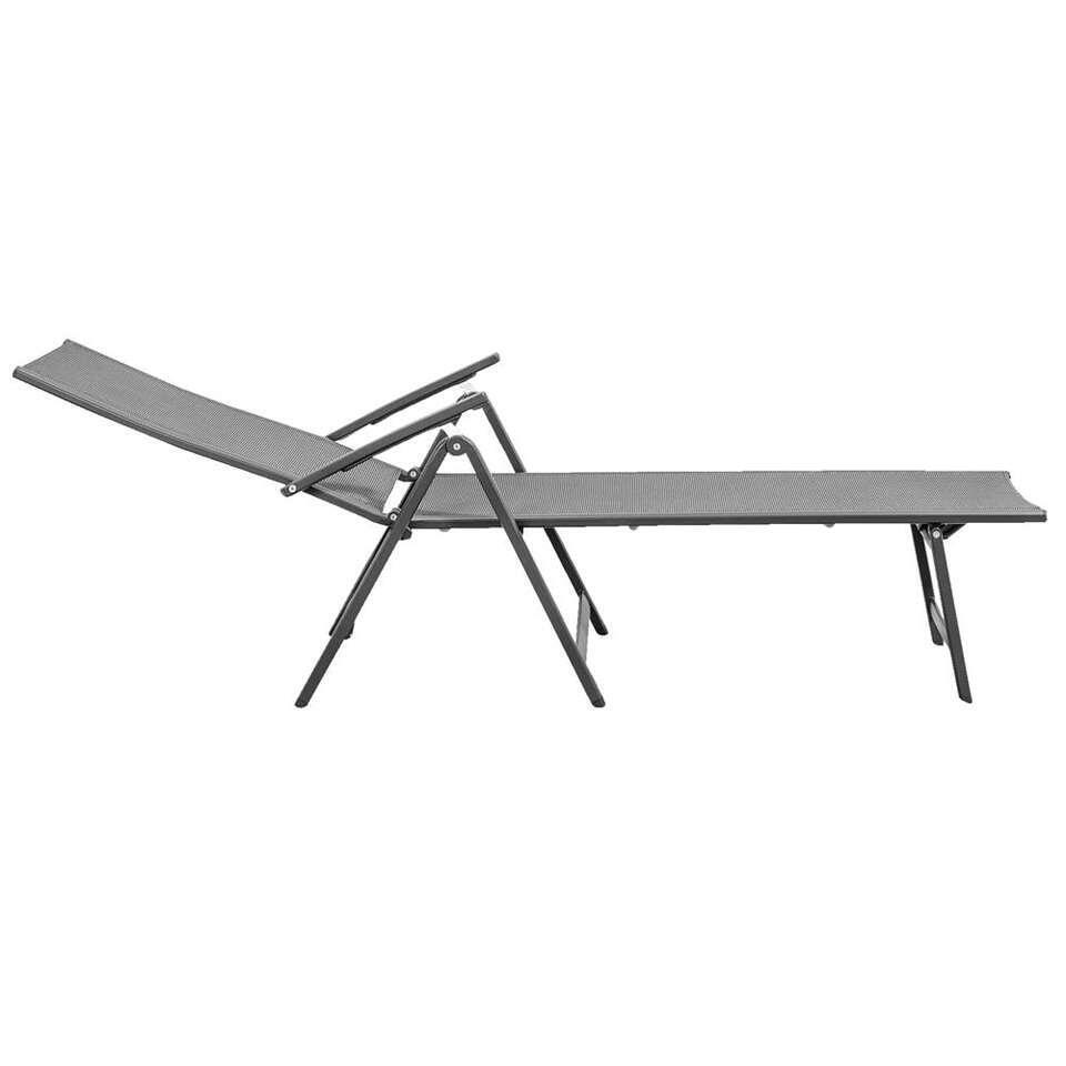 Lounge ligbed Dordogne - mat grijs - 142x66x109 cm - Leen Bakker