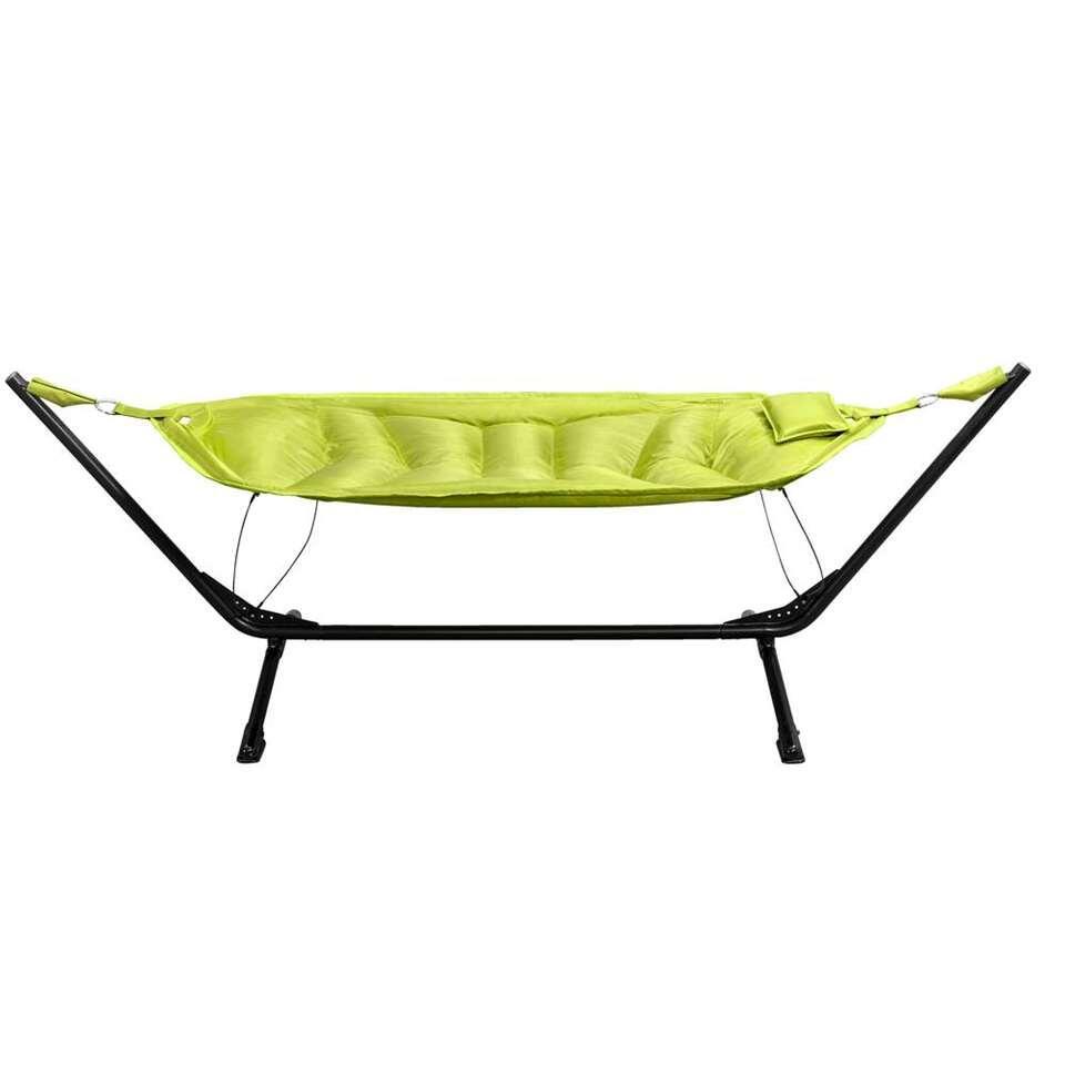 Hangmat Alghero met frame - zwart/olijfgroen - Leen Bakker