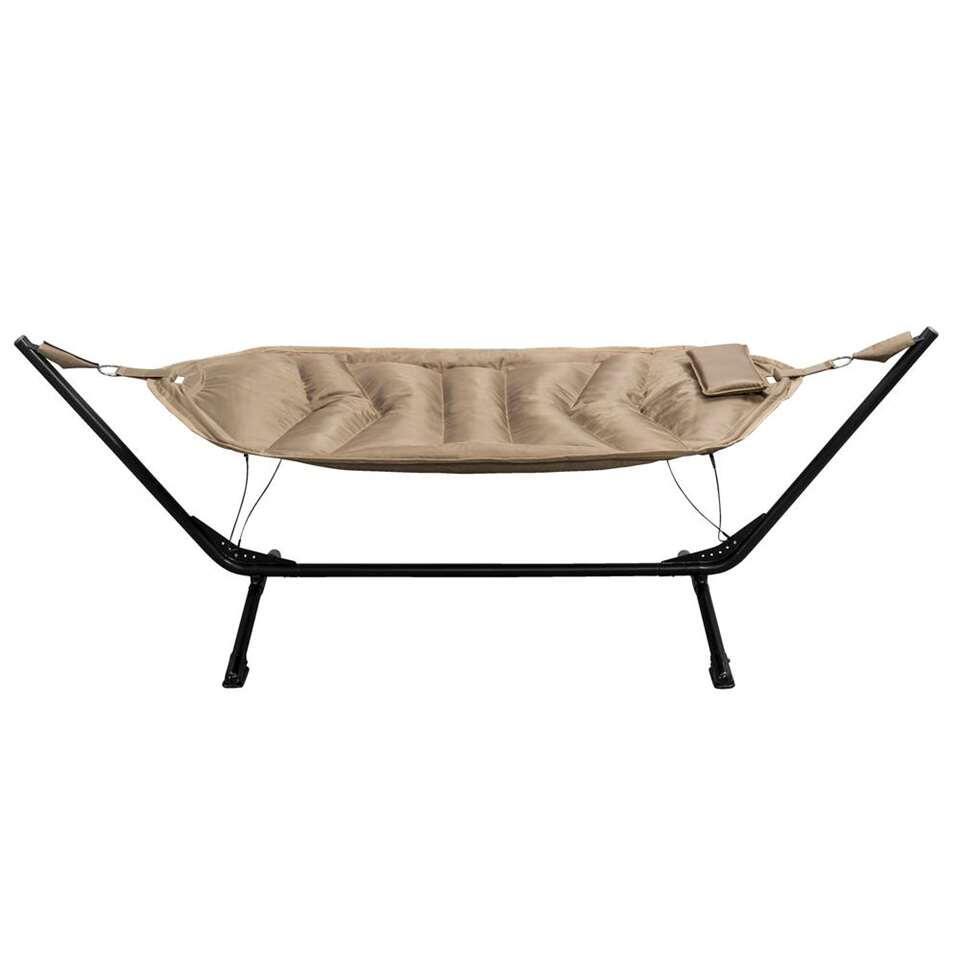 Hangmat Alghero met frame - zwart/beige - Leen Bakker