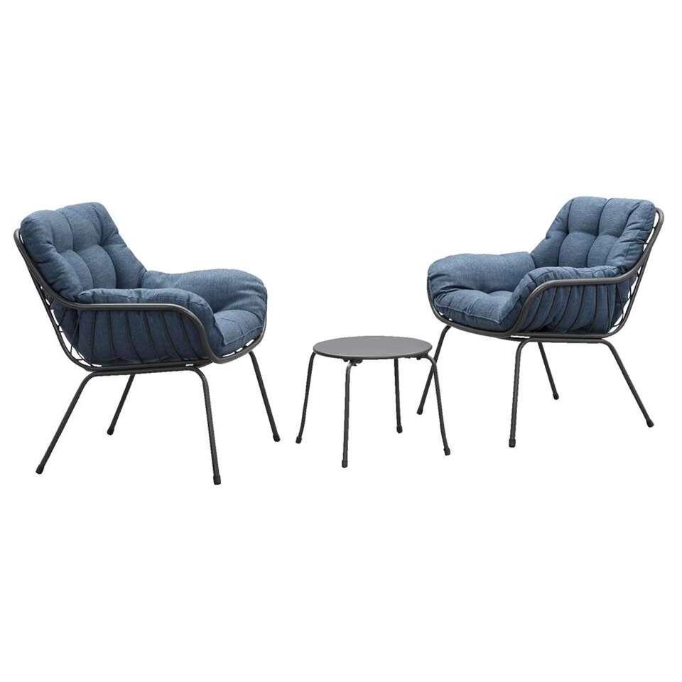 Le Sud loungeset Orange - antraciet/blauw - 3-delig - Leen Bakker