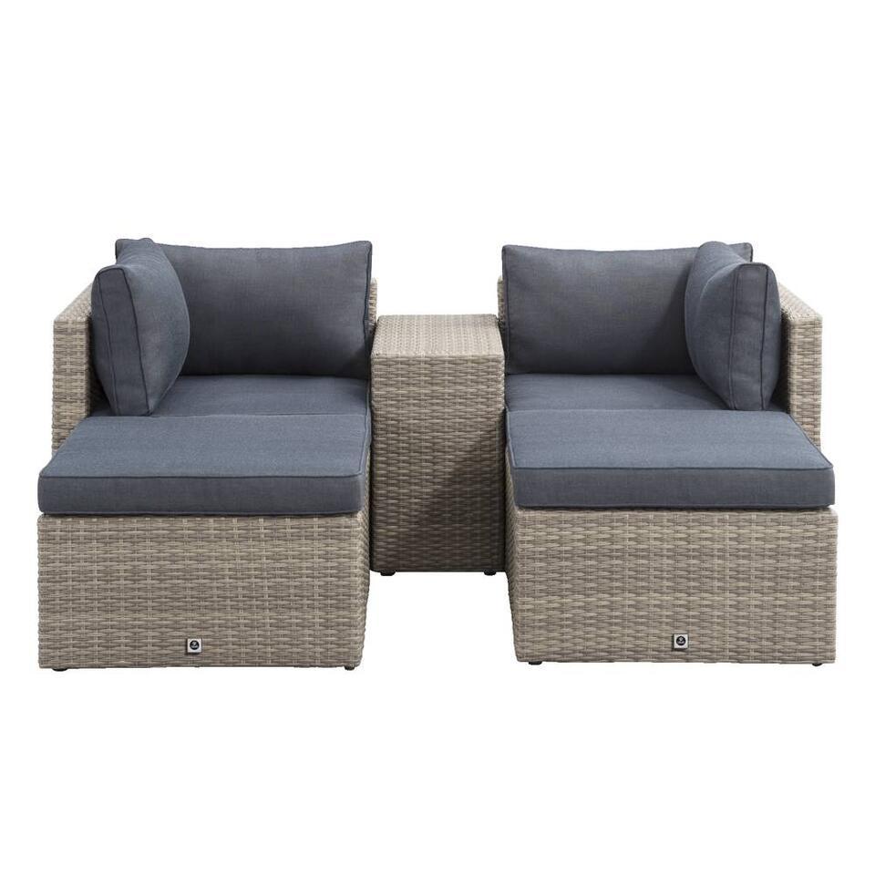 Salon lounge Malaga compact - gris - 5 pièces
