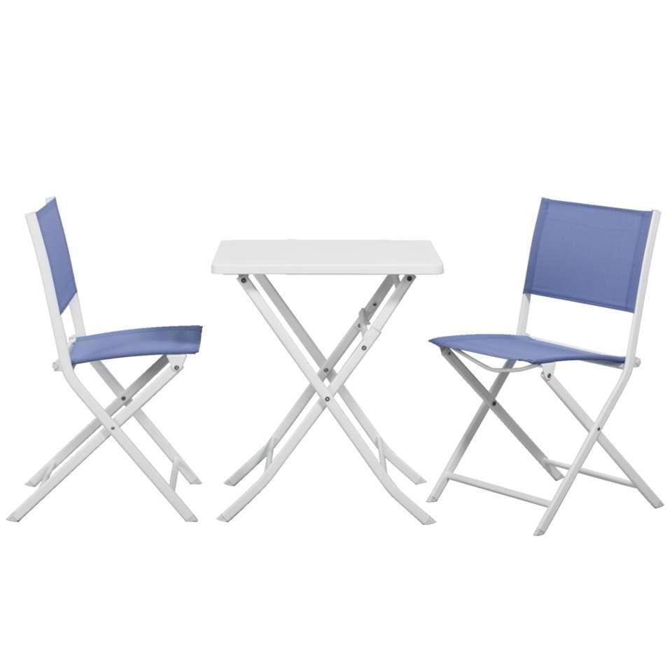 Bistroset Meledo - wit/blauw - 3-delig - Leen Bakker