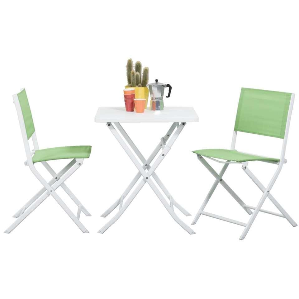 Bistroset Meledo - 3-delig - wit/groen - Leen Bakker