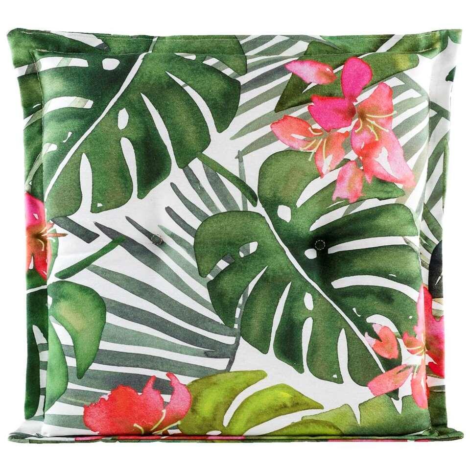 Le Sud zitkussen Tropic Flower - groen - 44x44x7 cm - Leen Bakker