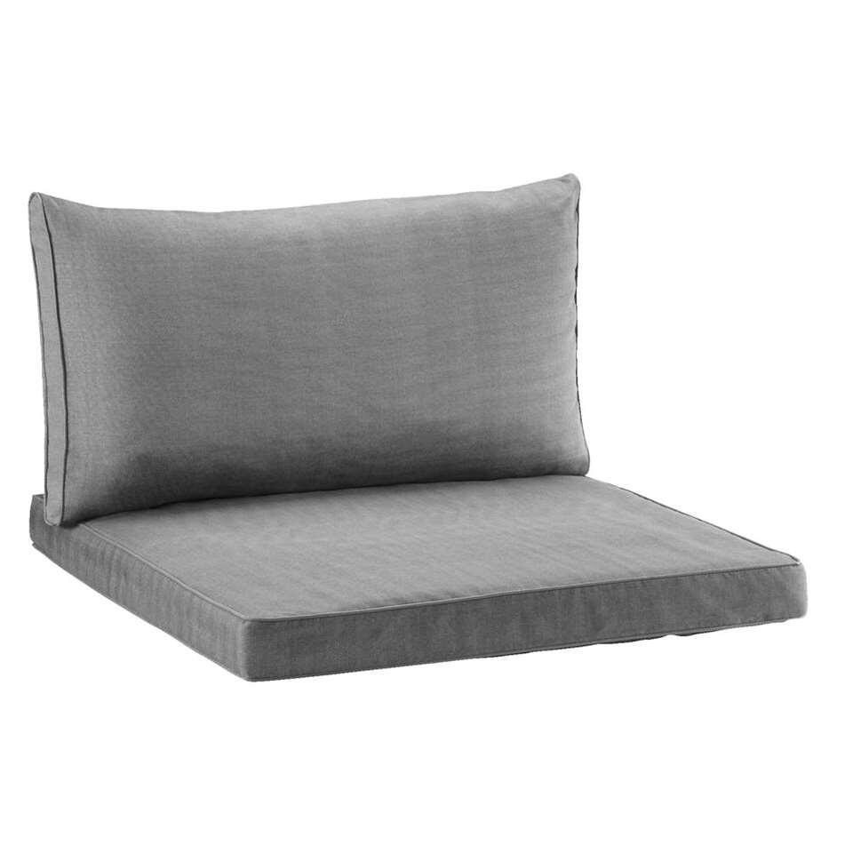 Loungekussenset Universeel 73x73 cm en 73x43 cm - grijs - 2 stuks - Leen Bakker
