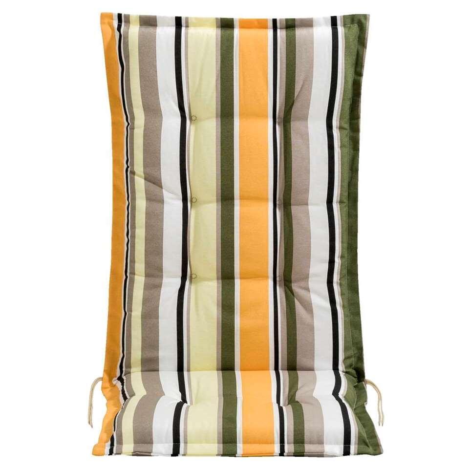 Le Sud terrasstoelkussen Woven stripe - geel - Leen Bakker