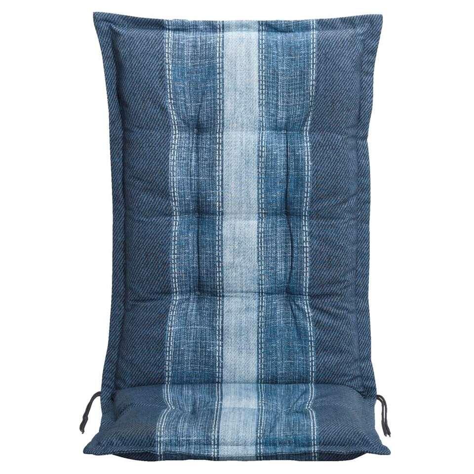 Le Sud terrasstoelkussen Denim - blauw - 123x50x8 cm - Leen Bakker