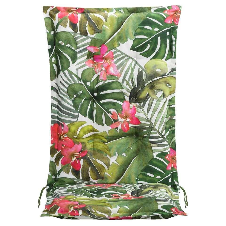 Le Sud terrasstoelkussen Tropical Flower - groen - 123x50x8 cm - Leen Bakker