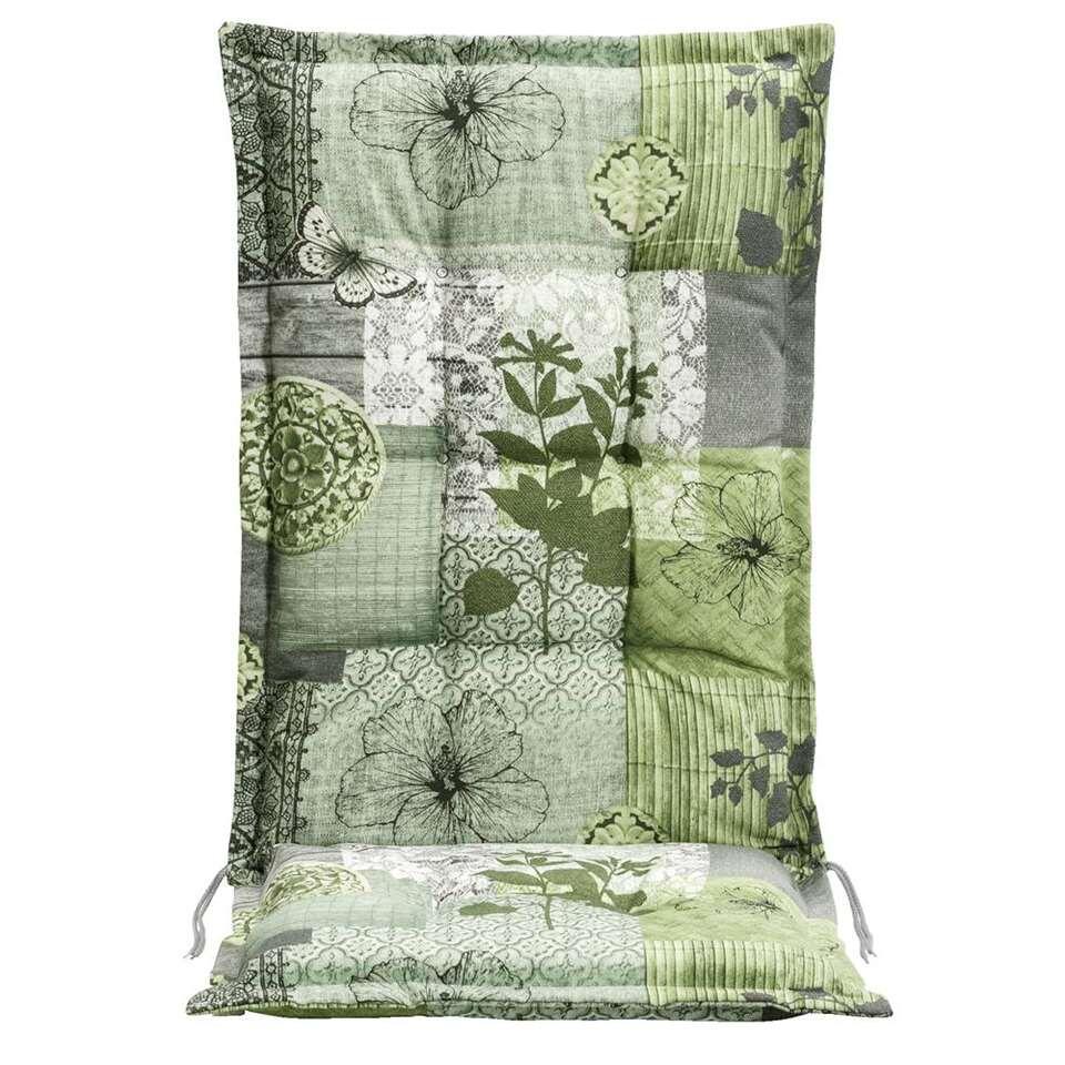 Le Sud terrasstoelkussen Hibiscus - groen/grijs - 123x50x8 cm - Leen Bakker