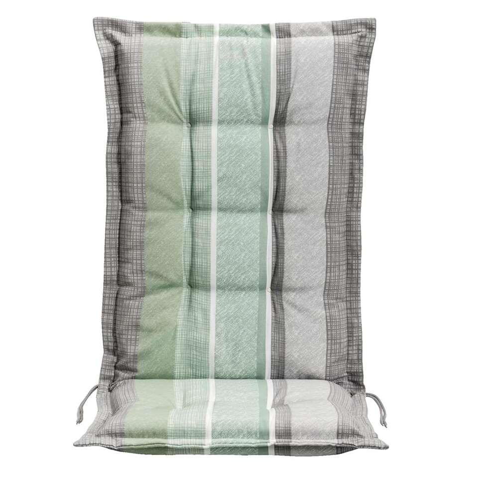 Le Sud terrasstoelkussen Streep Dessin - groen/grijs - 123x50x8 cm - Leen Bakker