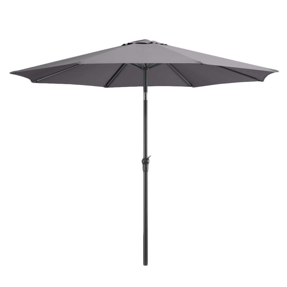 Deze parasol bestaat uit aluminium met een doek van polyester, in de kleur antraciet.