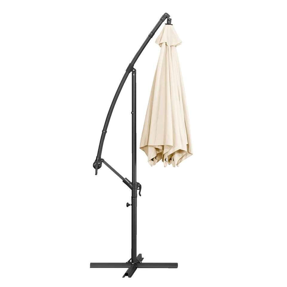 Le Sud freepole parasol Brava - antraciet/ecru - Ø300 cm - Leen Bakker
