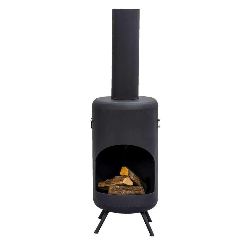 Sfeerhaard Cognac - zwart - 47x47x150 cm - Leen Bakker