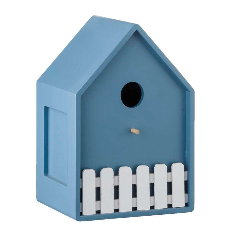 Vogelkooi Bob - blauw - 11x21,5x15 cm - Leen Bakker