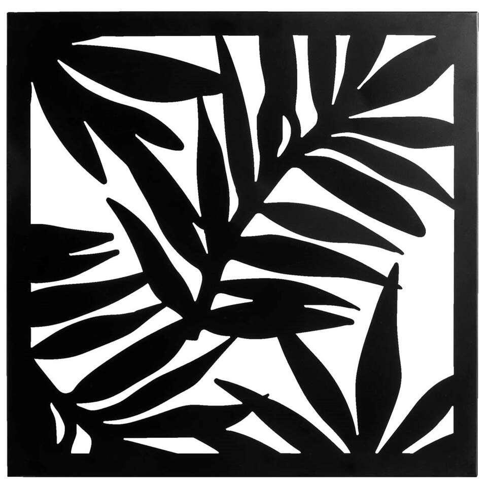 Wanddecoratie Palmblad - zwart - 56x56 cm - Leen Bakker