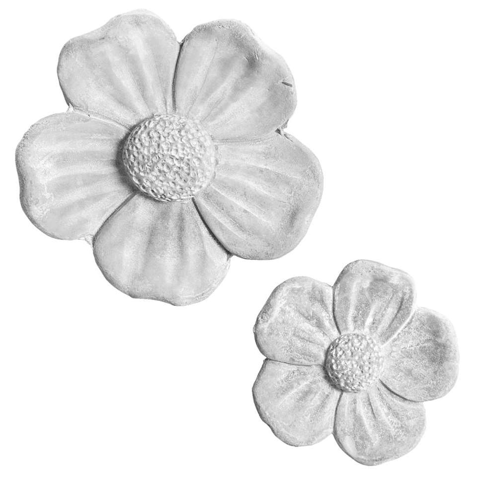 Beeld Flower - grijs - Ø17x3 cm - Leen Bakker