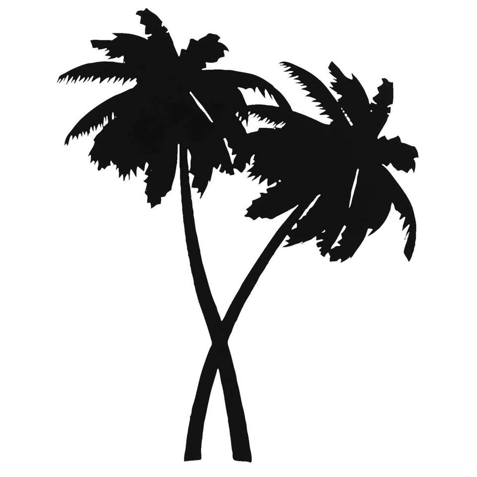 Wanddeco metal-art Palmbomen - zwart - 44x36x1 cm - Leen Bakker