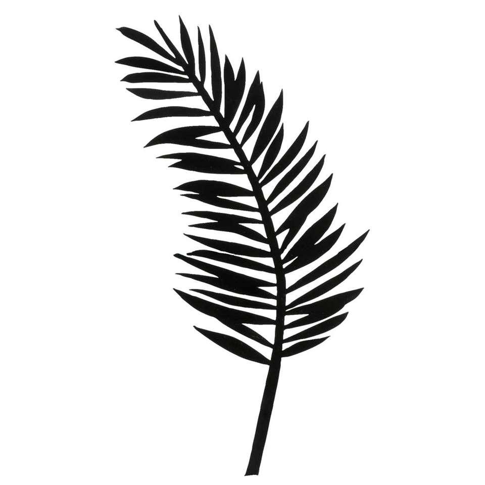 Wanddeco metal-art Palmblad - zwart - 44x26x1 cm - Leen Bakker