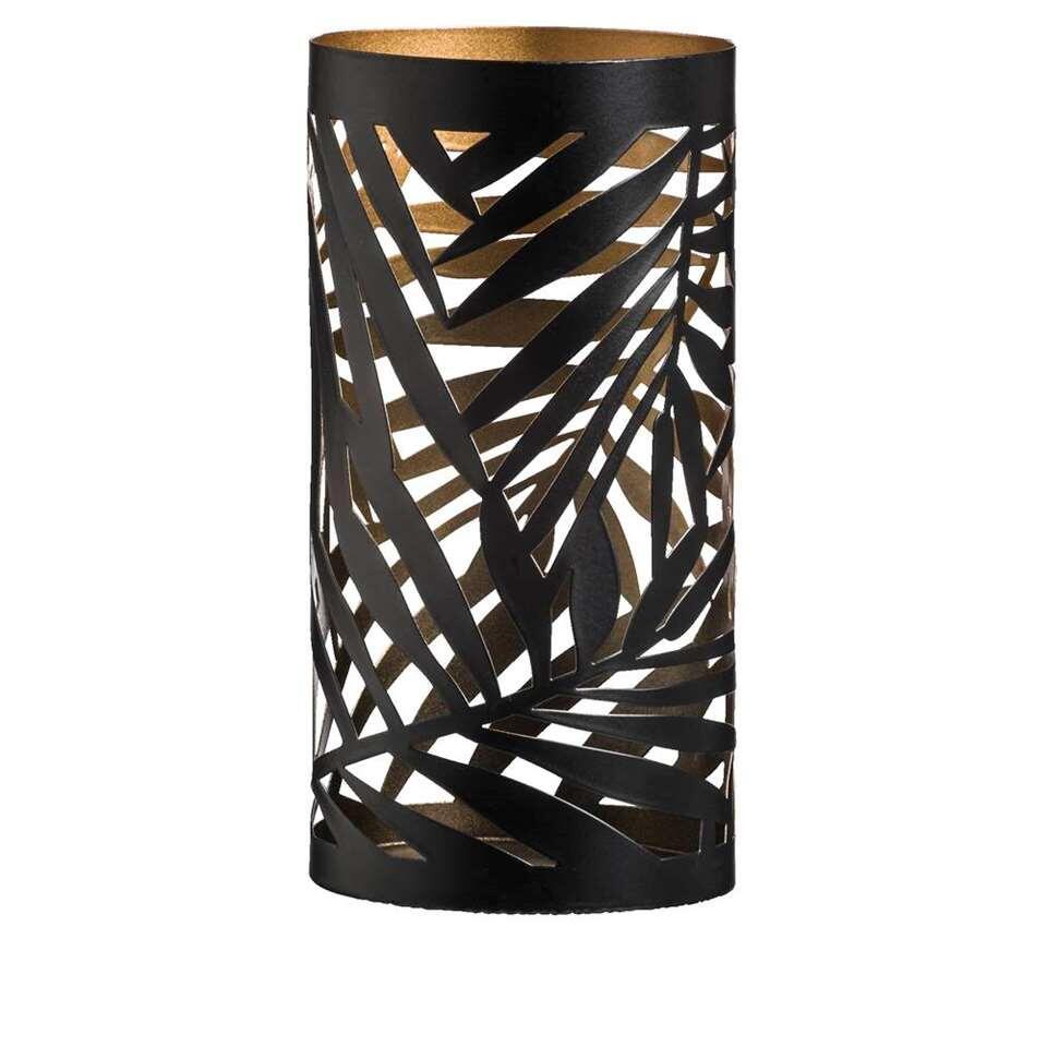 Theelichthouder Felipe - zwart/goudkleur - 20xØ10 cm - Leen Bakker