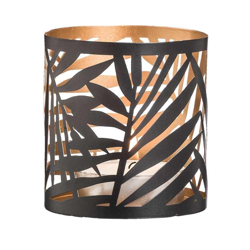 Theelichthouder Felipe - zwart/goudkleur - 10xØ9,3 cm - Leen Bakker