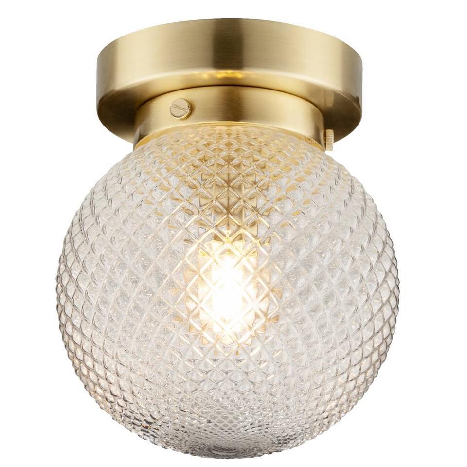 Le plafonnier Bos est vraiment un luminaire pratique. Doté d'une couleur or stylée. Diffuse une lumière particulièrement jolie grâce au verre travaillé.