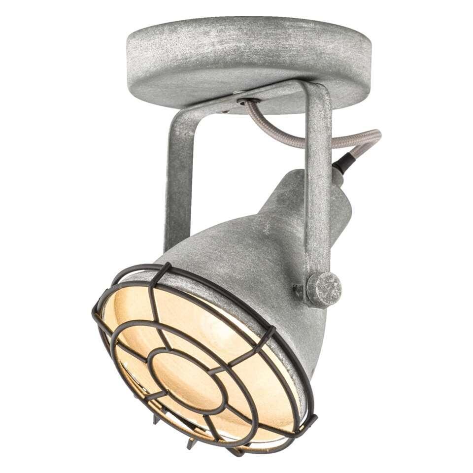 1-spot Do heeft een stoere en industriële cementkleur. Dit spotje is geschikt voor één lichtbron met een maximaal vermogen van 25 Watt. Inclusief recupel.