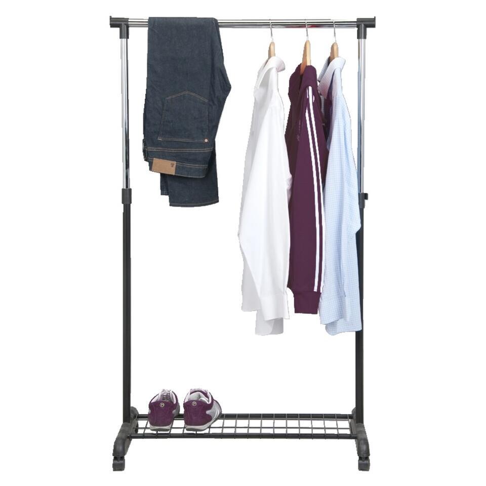Pour Accrocher Les Vetements porte-vêtements sur roulettes - noir/couleur chrome - 1 barre