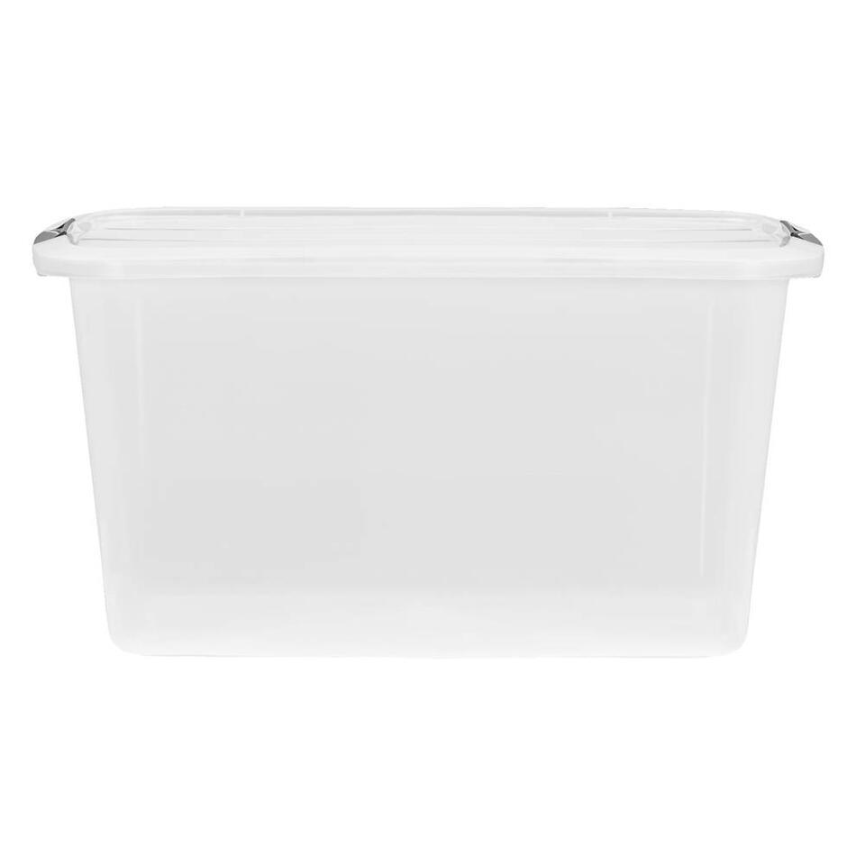 Opbergbox topbox 45 liter is een transparante box, geschikt voor het opbergen van enorm veel spullen. Deze handige opbergbox is gemaakt van plastic en is transparant. Zo kunt u precies zien wat u waar hebt opgeborgen.