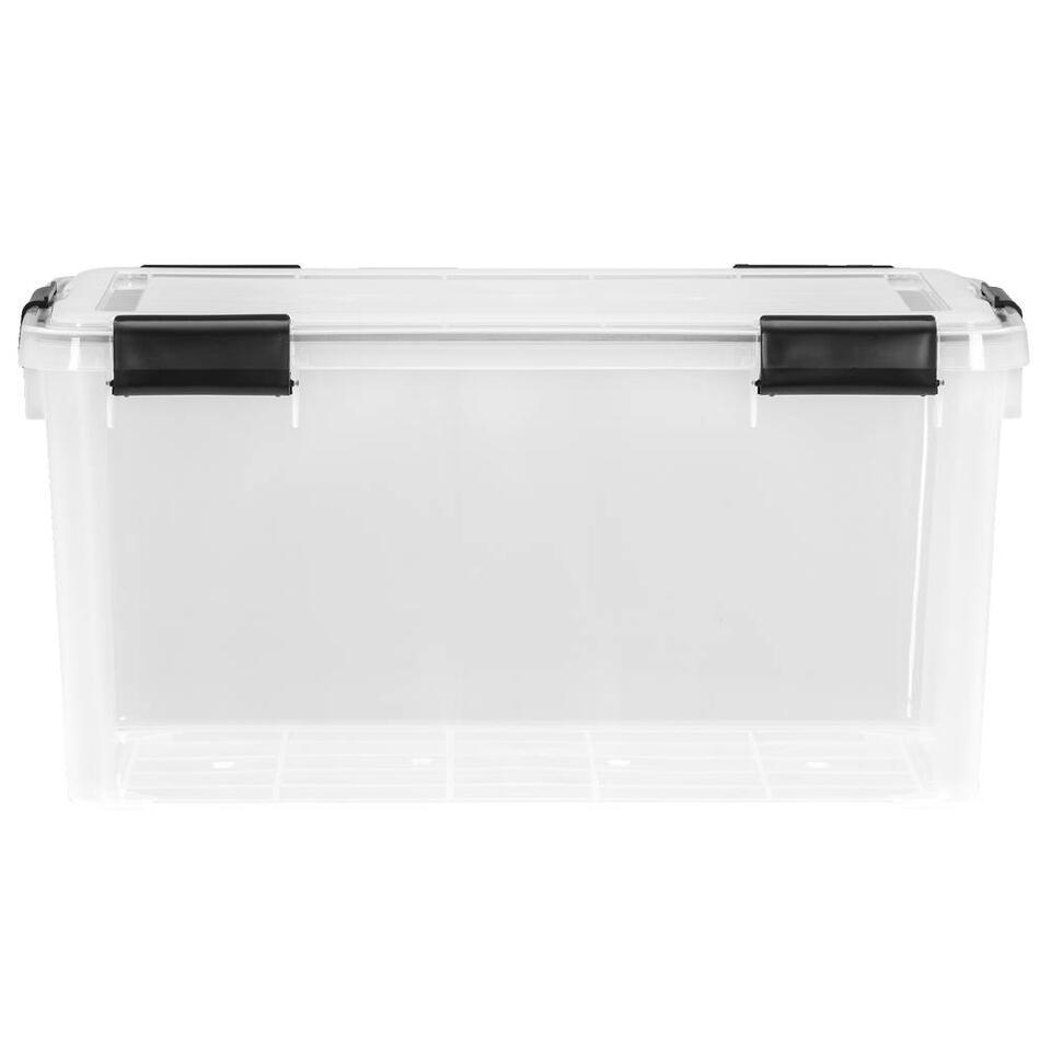 Opbergbox 50 liter is een grote, plastic opbergbox met een afmeting van 29x39x59 cm. Deze opbergbox is transparant, dus u ziet precies wat u waar hebt opgeborgen. Ook is deze box luchtdicht, erg handig!