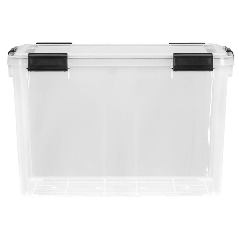 Opbergbox 70 liter is een grote, plastic opbergbox met een afmeting van 38x39x59 cm. Deze opbergbox is transparant, dus u ziet precies wat u waar hebt opgeborgen.