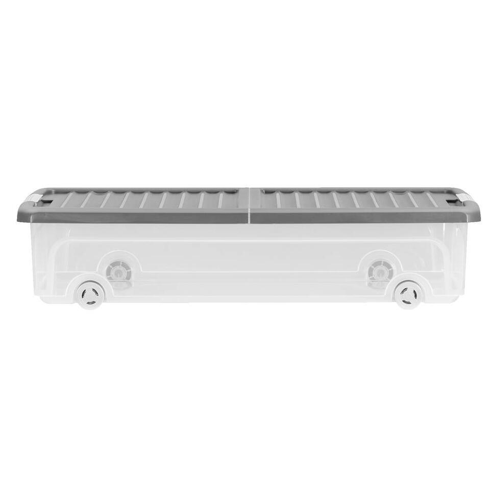 De KIS W-Box L onderbedbox heeft een afmeting van 74x37x16,5cm en een inhoud van 35L.