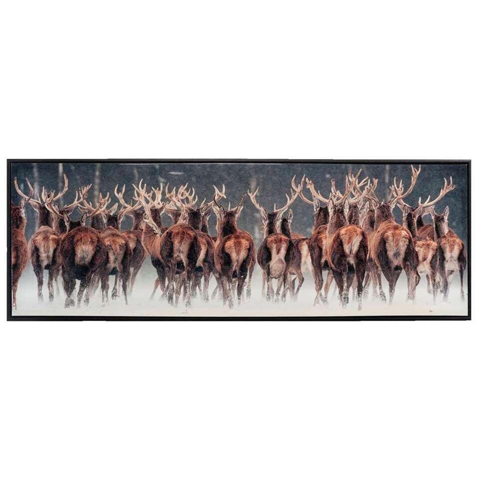 Tableau sur toile Cerfs - noir - 43x123x3,5 cm
