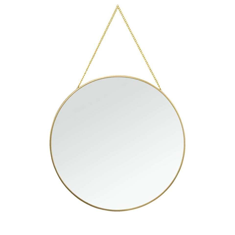 Spiegel Madrid is goudkleurig en is gemaakt van metaal. De spiegel heeft een diameter van 29 cm.