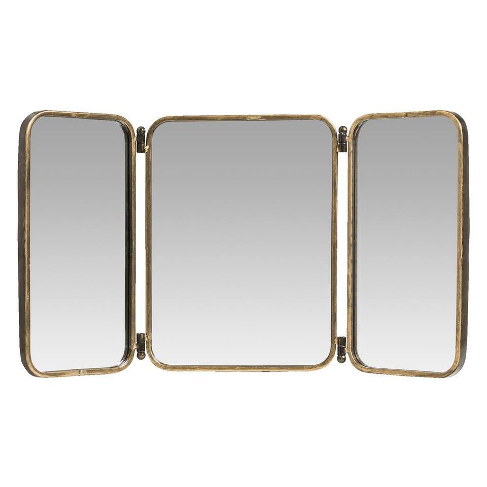 Miroir triptyque Tim - couleur or patiné - 40x33x6,5 cm