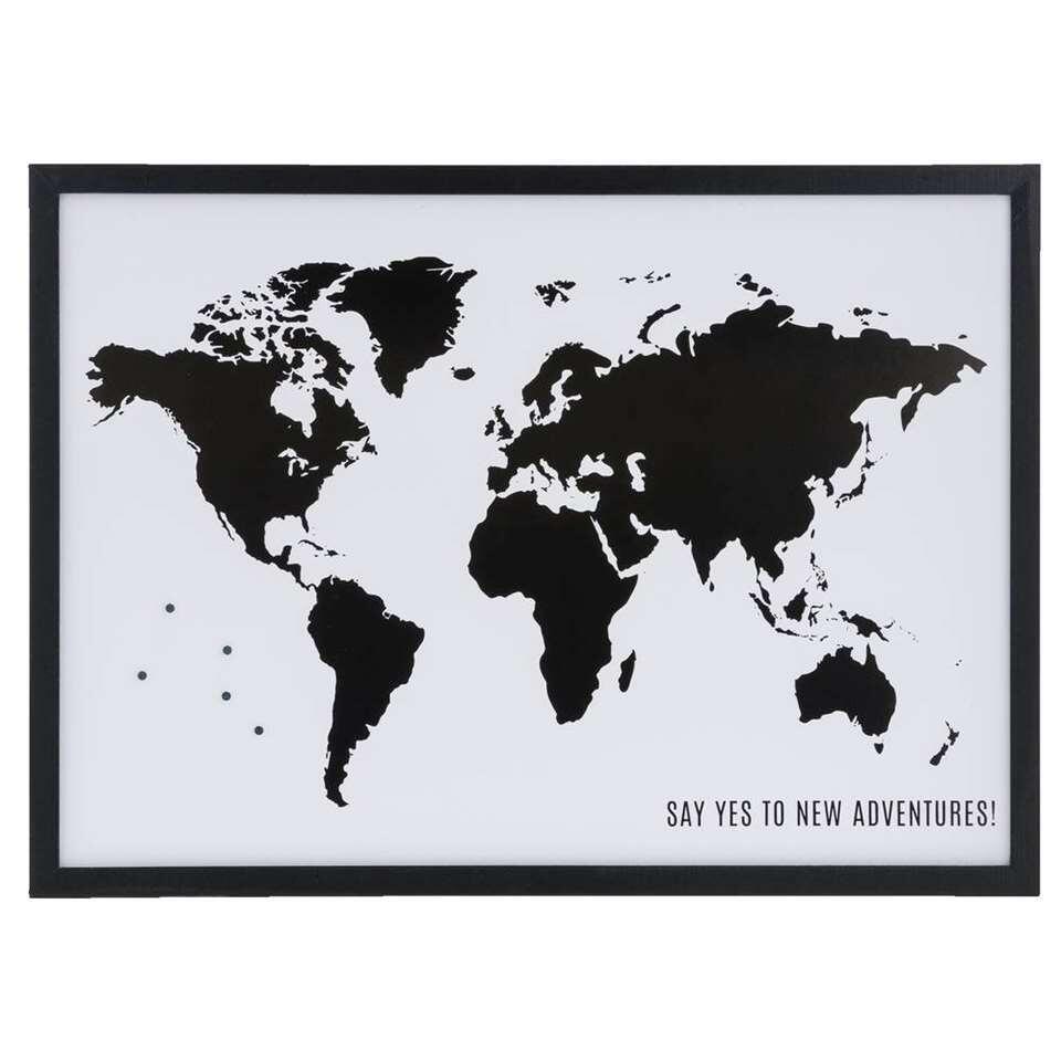 tableau magn tique carte du monde 4 magnets noir. Black Bedroom Furniture Sets. Home Design Ideas