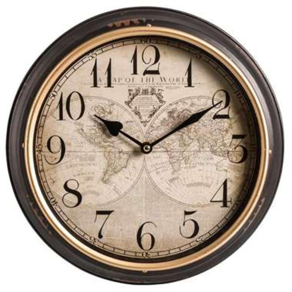 Horloge murale Puccini - noire/couleur bois - 31x6,5 cm