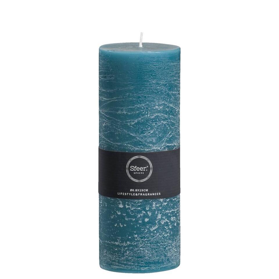 Sfeer bougie cylindrique Rustiek - bleu pétrole - 19x6,8 cm