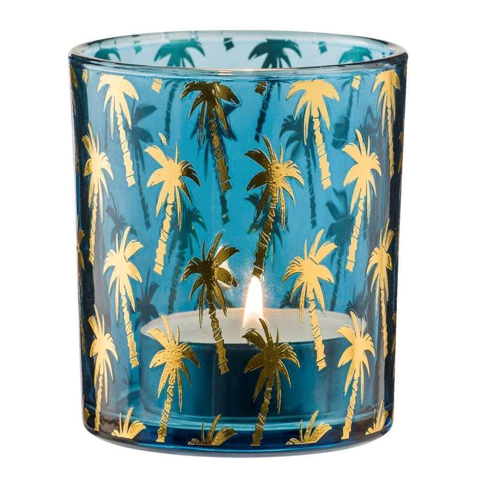Theelichthouder Palmboom - blauw - 10x8,8 cm