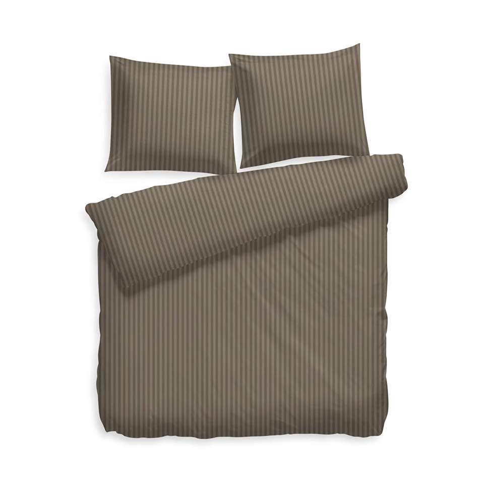 Heckett & Lane dekbedovertrek Uni Stripe - taupe grey - 140x200 cm