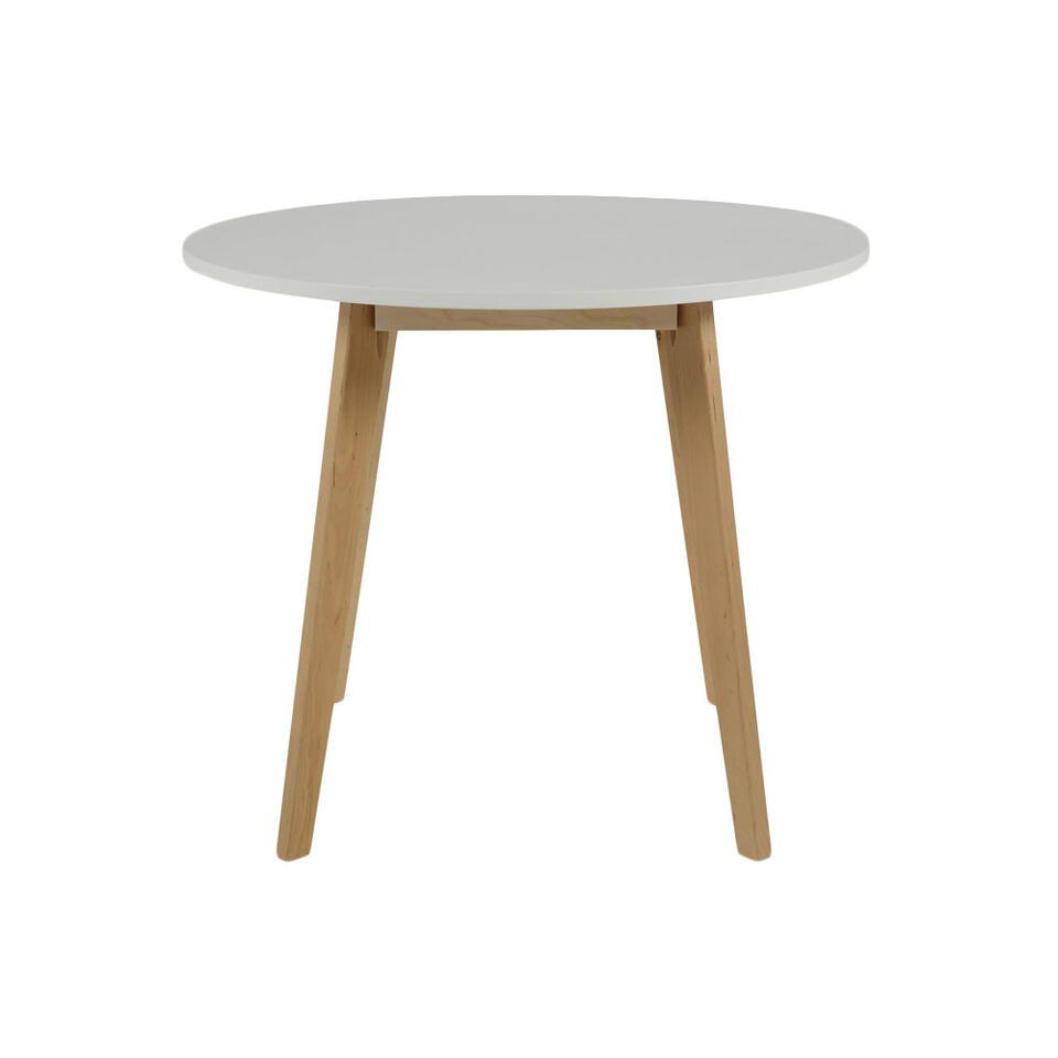 Eetkamertafel Aalborg rond  is een trendy ronde tafel met een wit tafelblad. Deze tafel valt op dankzij zijn Scandinavische look.