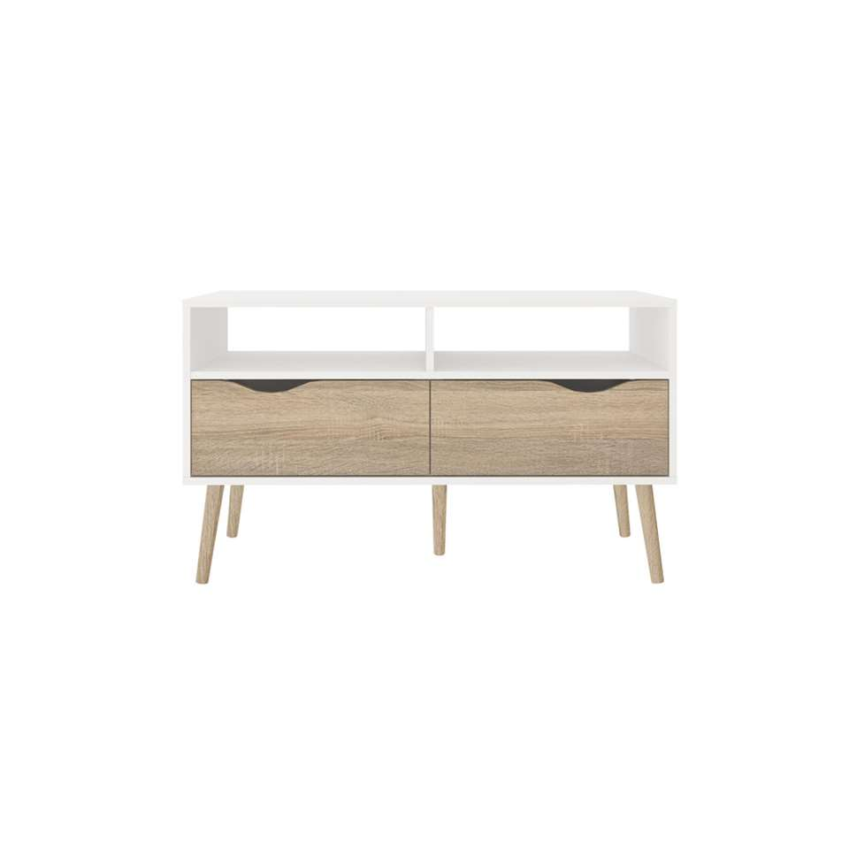 Dressoir TV Delta 4 casiers - blanc/marron - 98,6x39x57,6 cm