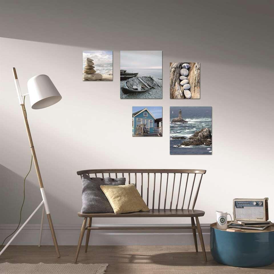 Art for the Home lot de tableaux Plage - 5 pièces - bleu - 82x60 cm