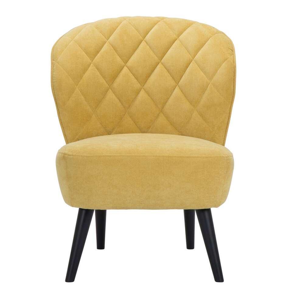 Fauteuil Vita in retrolook mag absoluut niet ontbreken in uw inrichting! Deze mooie vormgegeven fauteuil is uitgevoerd in een fijne, gele stof met zwarte poot. De zwarte poot zorgt voor een hippe uitstraling die bij ieder interieu