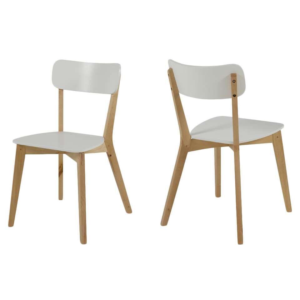 Chaise Aalborg - blanche/couleur chêne - 2 pièces