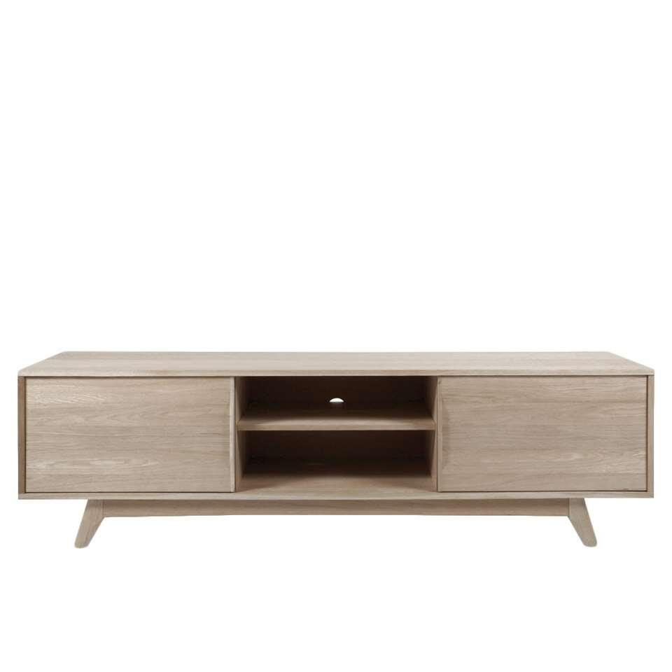 Tv Kast Dressoir Eiken.Tv Dressoir Lundo Wit Eiken 55x180x44 Cm