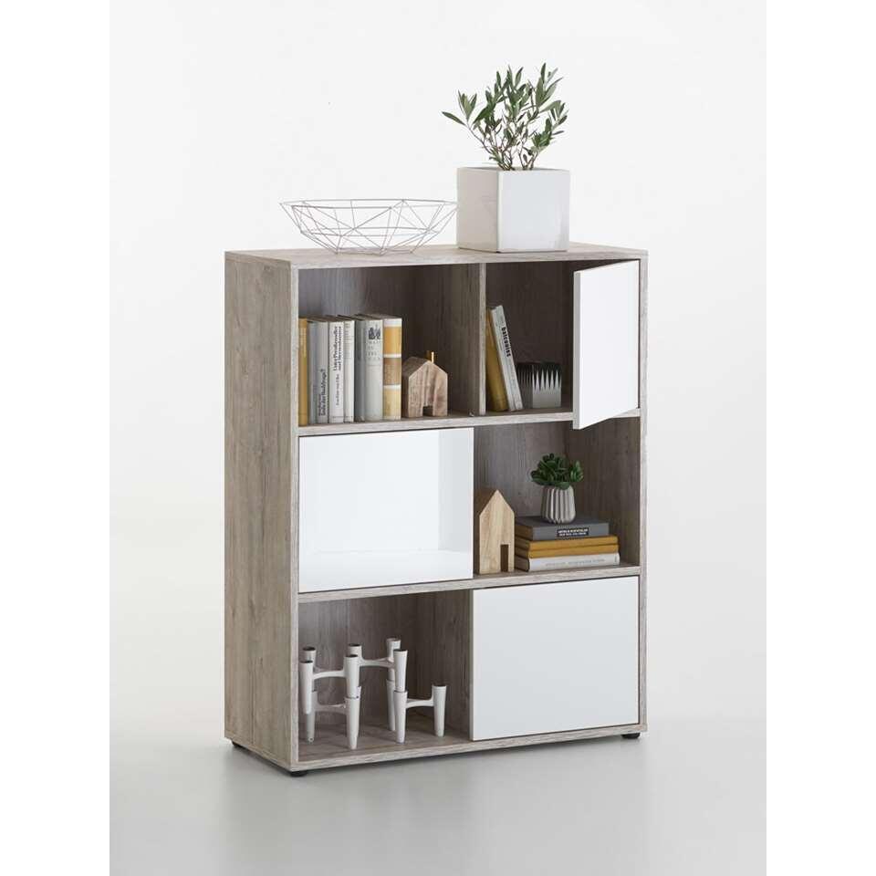 biblioth que avec porte couleur ch ne clair blanc brillant. Black Bedroom Furniture Sets. Home Design Ideas