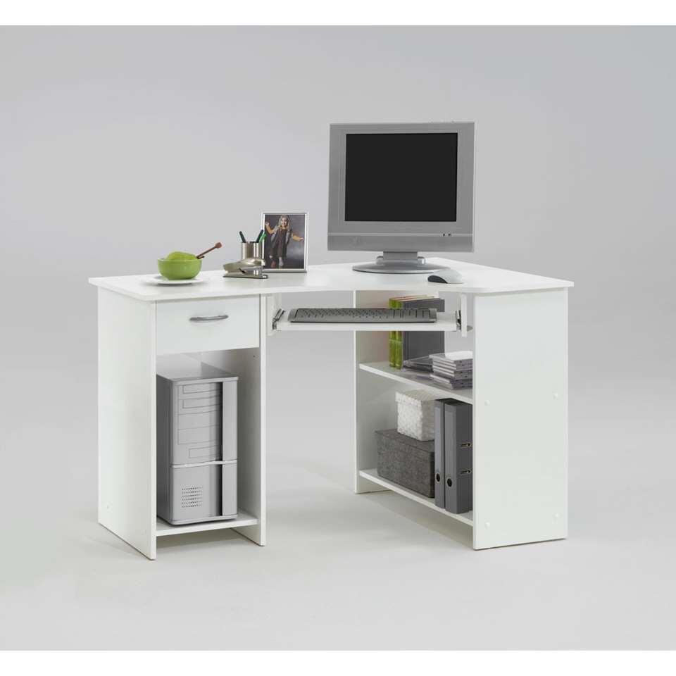 Ce bureau d'angle a un support pour clavier pratique. Le bureau a un motif de hêtre et offre beaucoup d'espace de rangement et possibilités.