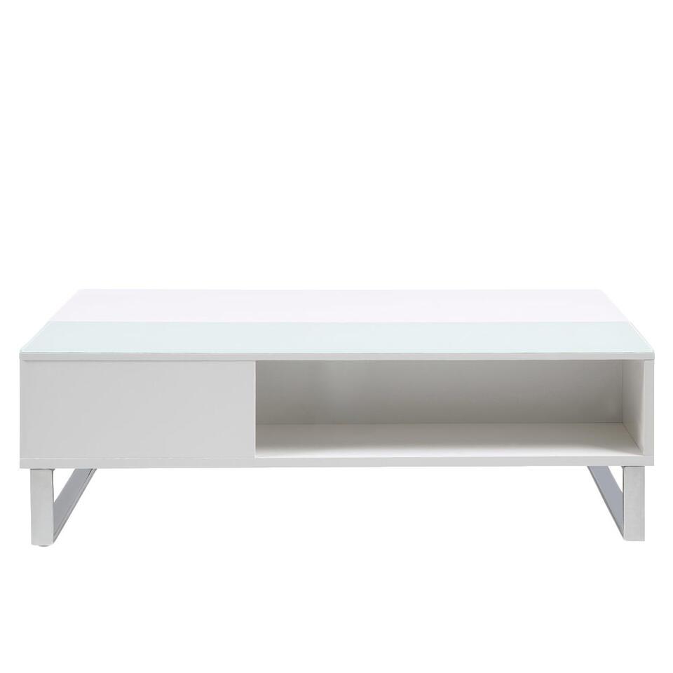 Salontafel Nordborg is multifunctioneel. Het vernuft zit in het tafelblad, dat voor de helft in hoogte verstelbaar is. Deze tafel is een combinatie van MDF en glas.